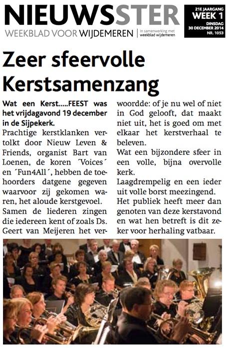 Nieuwsster 30 december 2014